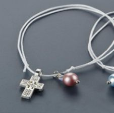 Witness pins bracelets with a pearl 50pcs / Μαρτυρικά βραχιολάκια με ροζ πέρλα 50τμχ